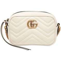 Gucci Women Mini Gg Marmont 2.0 Leather Bag (2.890 BRL) ❤ liked on Polyvore featuring bags, handbags, purses, off white, hand bags, genuine leather handbags, genuine leather purse, quilted handbags and gucci handbags