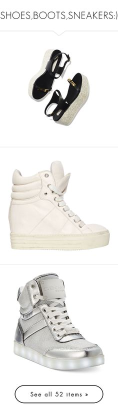 """SHOES,BOOTS,SNEAKERS:)"" by sweet-sisi ❤ liked on Polyvore featuring shoes, sneakers, wedge heel sneakers, leather lace up shoes, lace up wedge sneakers, lace up shoes, wedge sneakers, silver, high-top sneakers and high top trainers"