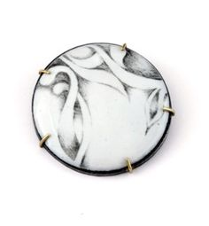 Christine Simpson-Forni, Caress  - 18kt gold, sterling silver, graphite drawing directly on glass then on fused copper -  pendant