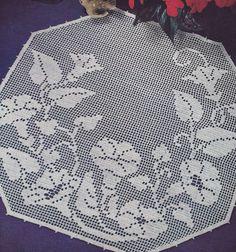 Vintage Crochet Pattern Morning Glory Filet Doily Motif MorningGloryFilet