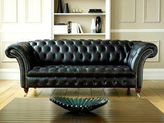 sofá Chester negro de piel