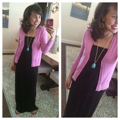 Black Maxi, Pink Cardi, Turquoise Pendant, Gold Earrings, and Cognac Sandals!