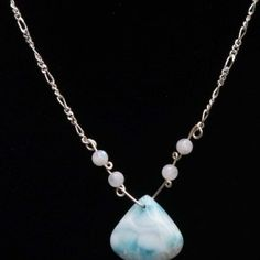 Larimar, Moonstone and Sterling Silver Necklace $180