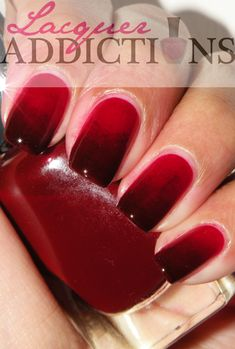 Ombre Nails  -  Red Zin. Gradient nails. Lacquer Addictions nail blog.