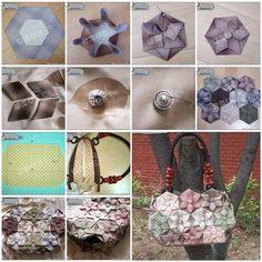 DIY Origami Lotus Flower Patchwork Handbag   iCreativeIdeas.com LIKE Us on Facebook ==> https://www.facebook.com/icreativeideas