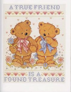 Cross Stitch Chart  New Baby Birth Sampler Baby Bear and Heart Bl FlowerPower37