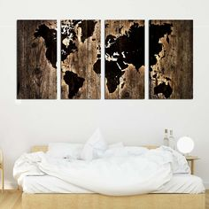 Τετράπτυχος πίνακας σε καμβά Dark wood World map - Ninesix.gr