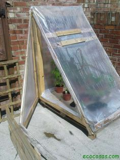 Build a small lean-to greenhouse with a discarded pallet.Build a small lean-to greenhouse with a discarded pallet. Diy Mini Greenhouse, Pallet Greenhouse, Diy Greenhouse Plans, Homemade Greenhouse, Lean To Greenhouse, Backyard Greenhouse, Cheap Greenhouse, Balcony Garden, Greenhouse Wedding