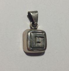 square charm spiral helix maze black line Sterling Silver 925 Necklace Pendant #unsignedunbranded #Pendant
