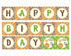 Safari Birthday banner (INSTANT DOWNLOAD) - Safari banner - Jungle Birthday banner - Safari theme party - Jungle theme party MU001