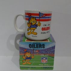 Vintage Garfield Mug for the Texas NFL Football Houston OIlers fan! It's from Enesco 1978!