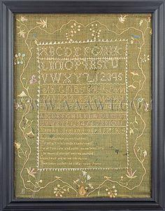 Needlework, Sampler, Martha Ireland, Item585, NEw Hampshire