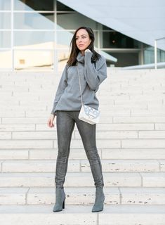Sydne Style shows how to wear leather leggings in lysee silver pants