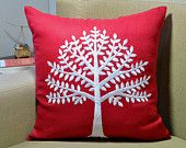 Tree Throw Pillow Cover, Red Linen White Tree, Embroidered Pillow, Modern Home Decor, Floral Pillow Case. Cushion Cover, Square pillow