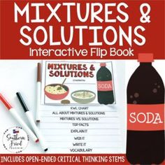 This engaging Mixtures & Solutions Interactive Flip Book is an organized student resource that is load with critical thinking stems and questions which makes students really think. It can be used as a stand alone resource or for interactive notebooks. It can be used for so many things...note taking as a class, review, or even assessments. It is also great as a study tool for class and state assessments. #mixtures #solutions #mixturesandsolutions #scienceflipbooks #interactivenotebooks