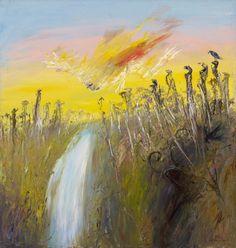 An image of Nebuchadnezzar on fire falling over a waterfall by Arthur Boyd Australian Painting, Australian Artists, Landscape Art, Landscape Paintings, Landscapes, Arthur Boyd, Avant Garde Artists, Yellow Art, Art Google