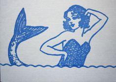mermaid birthday letterpress card by ferdinandhome on Etsy, $4.00