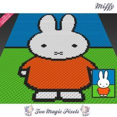Miffy crochet blanket pattern; c2c, knitting, cross stitch graph; pdf download; no written counts or row-by-row instructions by TwoMagicPixels, $2.84 USD