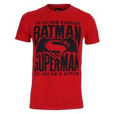DC Comics Men's Batman v Superman Gotham Guardian T Shirt Cherry Red #Batman #Superman