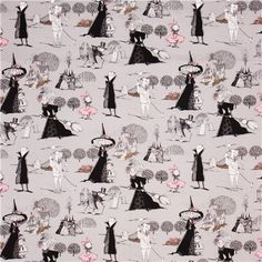 grey Halloween fabric with funny evil witches, children, cemeteries & houses