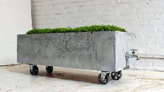 12 urban style indoor-outdoor concrete furniture pieces, concrete tiles, and lightweight concrete seating.