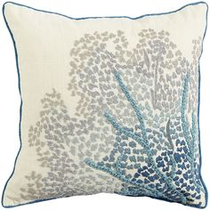 Go coastal. This elegant hand-embroidered accent pillow was inspired by vintage imagery of ocean coral. Stitched onto soft spun cotton with contrasting aqua dupioni piping and backing, it's perfect for home or beach house, sofa or bed.