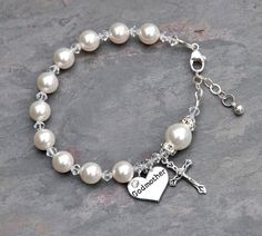 Will You Be My Godmother - Rosary Bracelet All White Pearls - Godmother Godparent Gift Idea - Swarovski Crystal Pearl -Baby Girl Boy Baptism