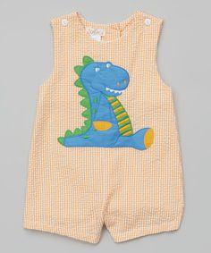 Look at this #zulilyfind! Orange Dinosaur Seersucker Shortalls - Infant #zulilyfinds