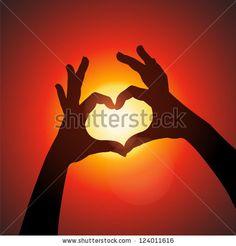 Love shape hands silhouette in sky - stock vector