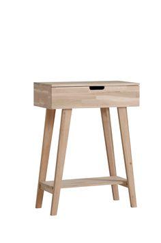 Ellos Home Hallbyrå Comet Byrå/sängbord av obehandlad ek. En låda med lådstopp. Höjd 80 cm. Djup 30 cm. Bredd 60 cm.