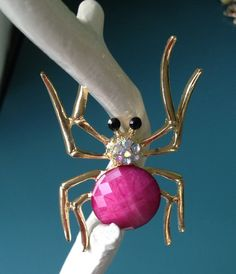 Large Spider Brooch bright pink by PassingTides on Etsy