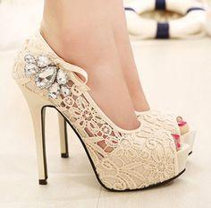 rhinestone lace wedding shoes on Chiq $28.77 http://www.chiq.com/rhinestone-lace-wedding-shoes
