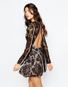 Image 2 ofThe Jetset Diaries Pizzo Mini Dress With Open Back in Black