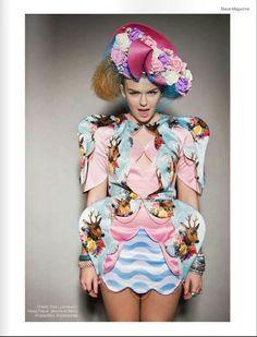 UK singer Tallia Storm wearing Ana Ljubinkovic print dress for Slave magazine / UK, February 2014