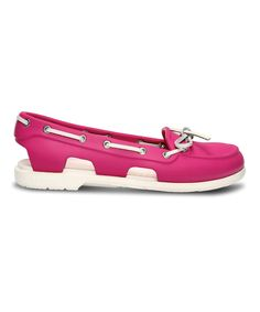 38162489b36 Loving this Crocs Fuchsia  amp  White Beach Line Boat Shoe - Women on   zulily