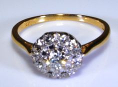 Vintage English Diamond Cluster Ring Solid 18K Gold A by Ringtique, $795.00
