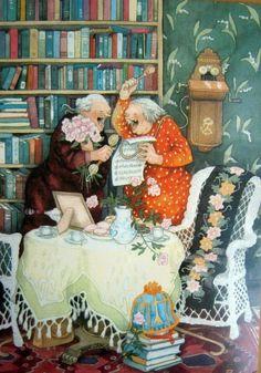 Чемодан с девочкой и девочка с чемоданом - Молодые бабушки от финской художницы Inge Look