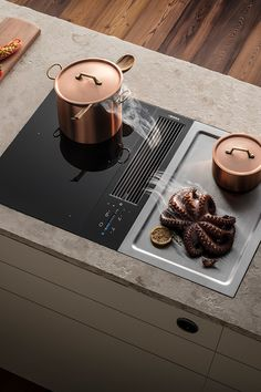 BORA Classic - cooking without an extractor hood Big Kitchen, Copper Kitchen, Home Decor Kitchen, Kitchen Dining, Modern Kitchen Interiors, Modern Kitchen Design, Outdoor Bbq Kitchen, Diy Furniture Videos, Vintage Stoves