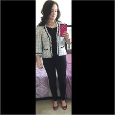 SALE White House Black Market tweed jacket Gorgeous black and white WHBM tweed jacket. In excellent condition! Looks great with skinny jeans and heels or for work with black pencil skirt! Size 4. 3/4 sleeves. Front closure hooks as shown in pics. White House Black Market Jackets & Coats Blazers