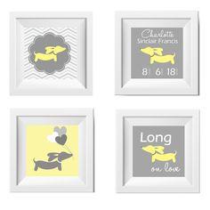 Artwork Set | Yellow & Gray Dachshunds