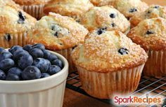 100Calorie Blueberry Muffins   via @SparkPeople #recipe #breakfast #snack #healthy