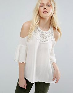 Buy it now. Hollister Lace Cold Shoulder Top - White. Top by Hollister, Lightweight cotton-rich knit, Cold-shoulder style, Crew neckline, Lace detailing, Button keyhole back, Relaxed fit, Hand wash, 55% Cotton, 45% Viscose, Our model wears a UK S/EU S/US XS. ABOUT HOLLISTER Inspired by beaches, blue skies and sunshine, Southern California label Hollister champions an endless summer. Never taking itself too seriously, its laid-back style is infused with surf and skate culture, making every…