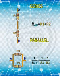 Resistors in Series and Parallel. Electronics Basics, Hobby Electronics, Electronics Components, Electronics Projects, Mechatronics Engineering, Electronic Engineering, Electrical Engineering, Electronic Circuit Projects, Arduino Projects