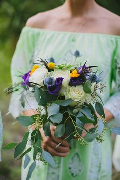 green and purple bouquet, Photo by Amber Vickery Photography http://ruffledblog.com/texas-wedding-with-new-orleans-flair #weddingbouquet #flowers