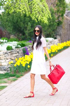 White dress and red bag for spring...
