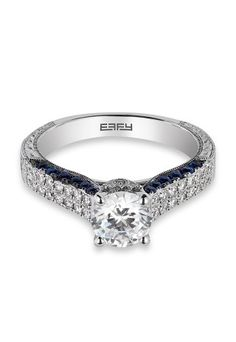 18K Gold Diamond & Sapphire Engagement Ring, 1.61 TCW from Effy Jewelry #wedding