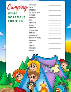 Help your kids get excited about outdoor fun with this free camping word search and word scramble for kids! Free Kids Coloring Pages, Coloring Pages For Kids, Fun Hobbies, Activities To Do, Get Excited, Family Love, Outdoor Fun, Cool Words, Word Search