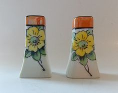 Hand-painted Porcelain Lusterware Salt and by InvitinglyVintage