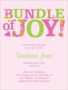 cute girl one bundle of pink baby shower invitation by petite lemon shutterfly