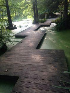 kingdomofsalads:   ~from the Bochum Botanical... - willowglenn | wglandscape Landscape Architecture, Landscape Design, Garden Design, Back Gardens, Outdoor Gardens, Zen Gardens, Wooden Path, Garden Paths, Garden Bridge